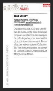Article magazine l'Hebdo